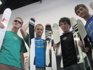 Partners Dan Nebeker, Jared Richards, Adam Hepworth and Shane Larsen (left to right) have founded Bluehouse Skis in Salt Lake City utilizing a unique bamboo core. (photo: FTO/Marc Guido)