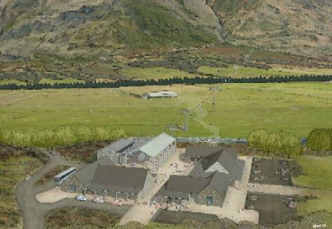 New Zealand's Treble Cone Ski Area has proposed a new gondola to lift visitors from the lowlands at Cattle Flat to the ski resort. (Artist's rendering: Treble Cone)