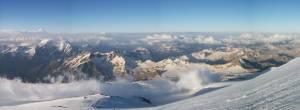 The Caucasus region from the summit of Mt. Elbrus. (photo: Gergely Pirovich)