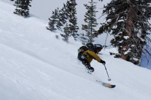 The author enjoys Snowbird's ample late season snow last Saturday, May 21st. (photo: FTO/Matthew Fatcheric)