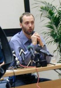 Finnish cross country skier Mika Myllyla at a press conference during the doping scandal in 2001.