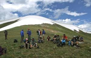 A lunch break during a July tour to the site of the proposed new Peak 6 chair at Breckenridge under the alternative preferred by the resort. (photo: Bob Berwyn)