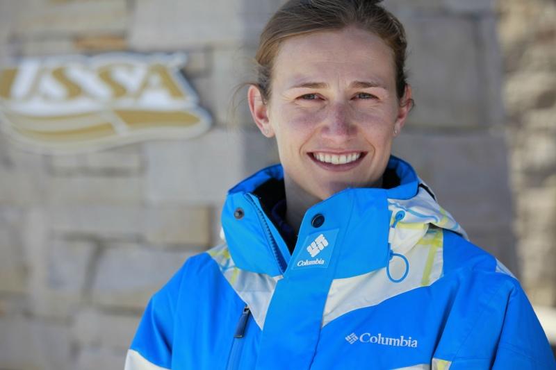 U.S. Ski Team athlete Heather McPhie in the new USSA Columbia outerwear. (photo: Columbia)