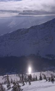 A sun dog forms below Castle Mountain's South Chutes (photo: FTO/Kevin Gawenus)