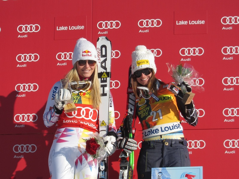Lindsey Vonn, left, and Julia Mancuso after finishing first and third in the super G on Sunday at Lake Louise, Canada. (photo: Doug Haney/U.S. Ski Team)