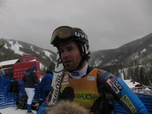 Nolan Kasper interviews with Universal Sports following his stunning fourth place finish in the Audi Birds of Prey slalom in Colorado on Thursday. (photo: U.S. Ski Team/Doug Haney)