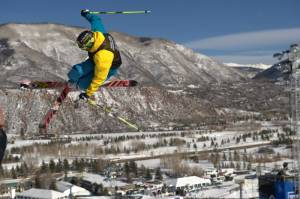 David Wise, of Reno, Nev.,competes in the Men's Ski SuperPipe Final during Winter X Games Aspen 2012. (Photo by Allen Kee / ESPN Images)
