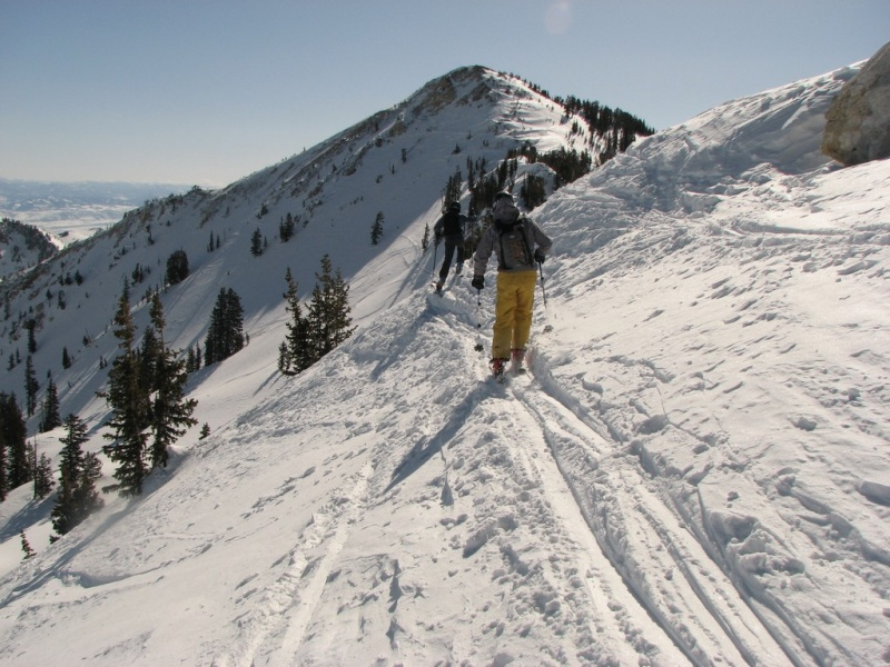 Skiers Jon Ross of Salt Lake City, and Matthew Fatcheric of Sandy, Utah, explore the Wasatch Mountains backcountry separating Alta Ski Area and Brighton Resort. (FTO file photo: Marc Guido)