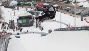 Mal Prior airs during the men's superpipe finals at the Gatorade Free Flow Tour, held on Sunday in conjunction with the Winter Dew Tour at Snowbasin Resort in Utah. (photo: Alli Sports)