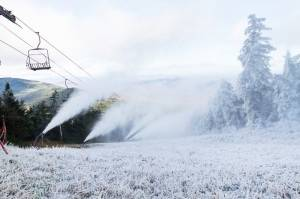 Killington snowmakers were hard at work on the Vermont resort's Rime trail on Friday, getting ready for Saturday's opening. (photo: Killington Resort)