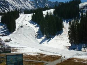 A-Basin's snowcat operators were hard at work on Monday getting ready for Wednesday's opening day. (photo: Arapahoe Basin Ski Area)