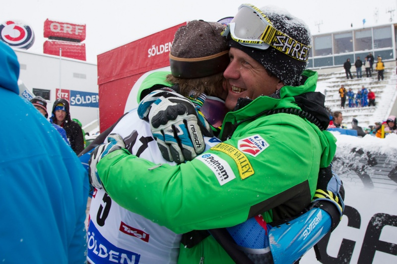 American ski racer Ted Ligety celebrates with Team USA head coach Sasha Rearick after winning the men's Giant Slalom at the Audi FIS Alpine Ski World Cup on Sunday in Solden, Austria. (photo: Mitchell Gunn/Getty Images)