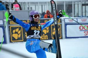 Slovenia's Tina Maze celebrates victory in the St. Moritz super combined on Friday (photo: FIS Alpine)