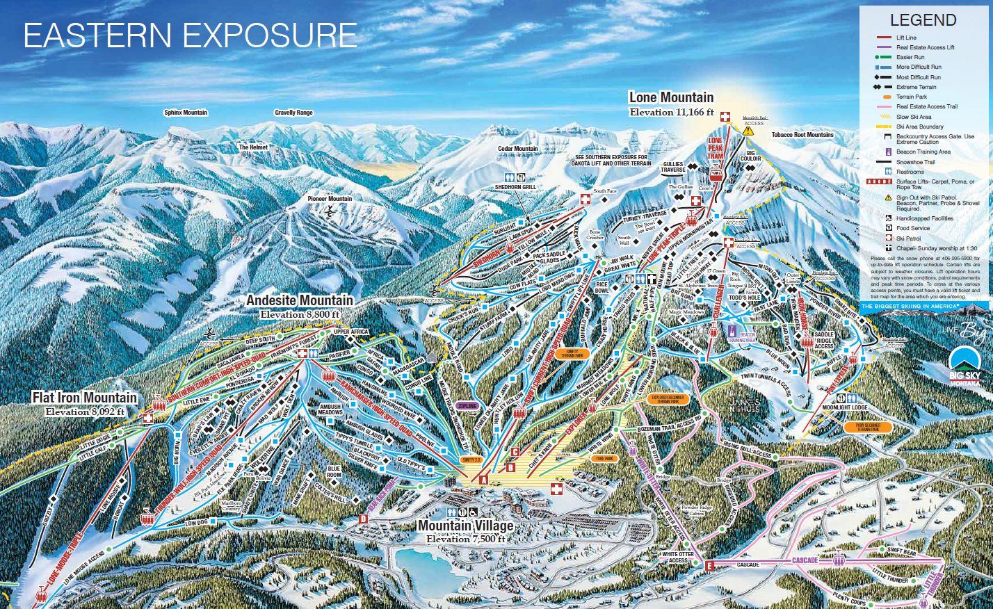 Big Sky Ski Resort Trail Map