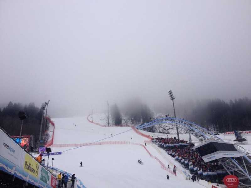 Thick fog in Schladming on Tuesday forced several delays of the opening women's super G at the FIS Alpine Ski World Championships. (photo: FIS Alpine)