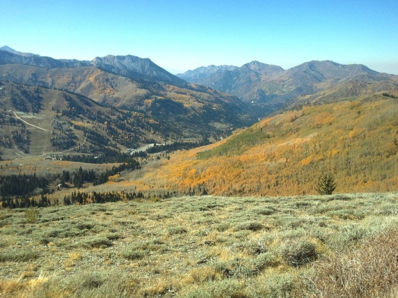 The SkiLink gondola proposed to link Utah's Canyons and Solitude ski resorts would traverse this land along the Wasatch Crest. Solitude's ski runs are visible at left. (file photo:FTO/Marc Guido)