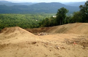Building a foundation for the superpipe for Sunday River's new T72 terrain park on North Peak (photo: Sunday River Resort)