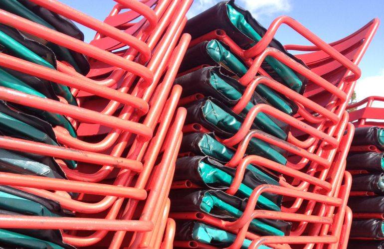 Lift chairs sit stacked and ready to expand Mt. Spokane's ski terrain. (photo: MS2000)
