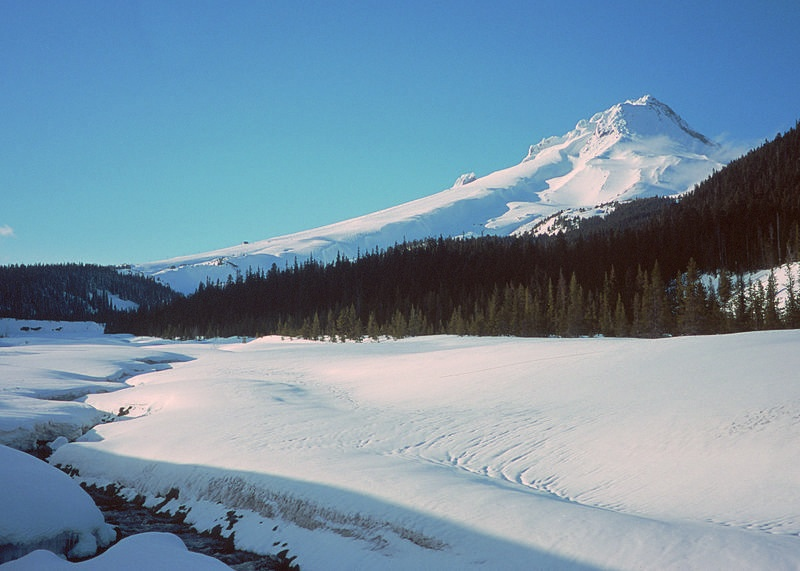 A stream tumbles from Oregon's Mount Hood in winter. (file photo: USDA)