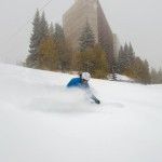 No, Snowbird wasn't open, but they skied Chickadee anyway! (photo: Matt Crawley)