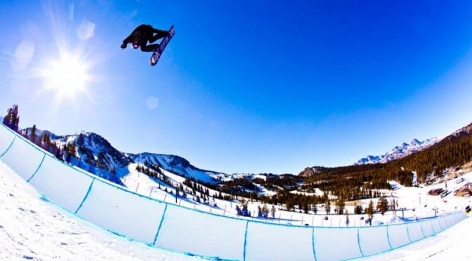 Snowboarder Shaun White practiced in Mammoth's halfpipe today ahead of Olympic qualifiers scheduled for the California resort later this week. (photo: Mammoth Mountain)