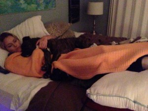Lindsey Vonn rests while recovering from knee surgery yesterday. (photo: Twitter)