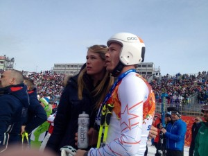 Bode Miller and wife Morgan Beck watch with disappointment from the finish line at the Men's Olympic Downhill in Rosa Khutor, Russia, last February. (photo: Doug Haney/USST)