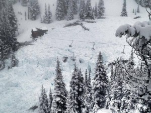 Avalanche debris fills the area surrounding the base of Crystal Mountain's High Campbell chairlift. (photo: Crystal Mountain)