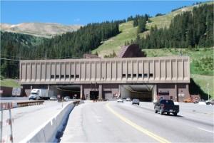 I-70 traffic passes directly beneath Loveland's ski runs to enter the Eisenhower Tunnel. (photo: CDOT)