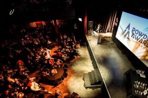 POWDER Magazine Editor John Stifter opens the show for the 2013 film awards in Salt Lake City. (photo: POWDER Awards)