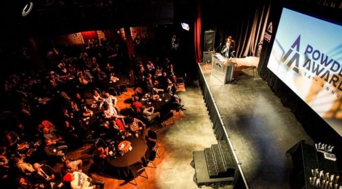 POWDER Magazine Editor John Stifter opens the show for the 2013 film awards in Salt Lake City. (file photo: POWDER Awards)