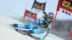 Slovenian Tina Maze skis to the top of the podium this morning in a World Cup giant slalom in Are, Sweden. (photo: FIS/Agence Zoom)
