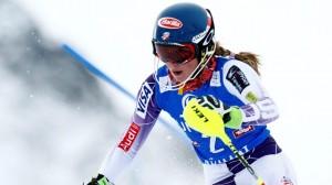 Mikaela Shiffrin races slalom in Kuehtai in Tirol, Austria, on Monday. (photo: FIS/Agence Zoom)