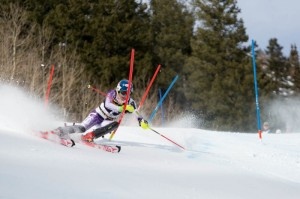 Mikaela Shiffrin, of Eagle, Colo., slipped from first place to fifth in the second run of Sunday's World Cup slalom in Aspen, Colo. (photo: Jeremy Swanson)