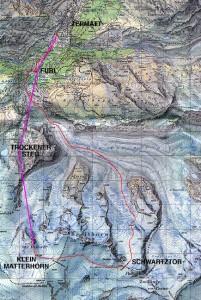 The Schwartztor ski route