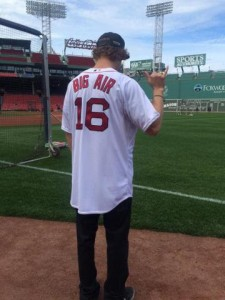 Olympic slopestyle skiing gold medalist Joss Christensen sports an official Big Air Red Sox jersey. (photo: USSA)