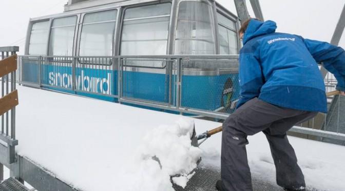 Summer tram operators at Utah's Snowbird Ski & Summer Resort were digging out on Wednesday. (photo: Matt Crawley)