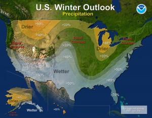 Precipitation - U.S. Winter Outlook: 2015-2016 (image: NOAA)