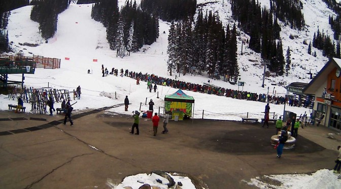 Skiers line up this morning at Arapahoe Basin's Black Mountain Express chair. (photo: Arapahoe Basin Ski Area)