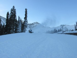 Snowmaking was continuing this morning at A-Basin in preparation for Thursday's opening day. (photo: Arapahoe Basin Ski Area)