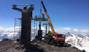 A new third stage of a gondola under construction on Russia's Mt. Elbrus will be the highest aerial ski lift in Europe. (photo: OJSC Northern Caucasus Resorts)