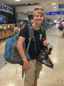 Sam Jackenthal at Salt Lake International Airport on Sept. 10, en route to a training camp in Australia. (photo: Facebook)