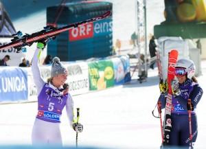 Mikaela Shiffrin celebrates a strong second run to finish second beside Italian skier Federica Brignone in the opening Audi FIS Ski World Cup in Soelden, Austria. (photo: U.S. Ski Team - Tom Kelly)