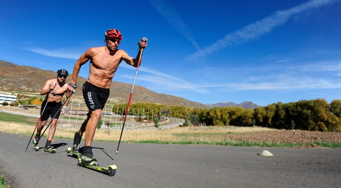 Andy Newell and Ben Saxson at U.S. Cross Country Ski Team roller ski training on the Olympic trails at Soldier Hollow, Utah. (photo: U.S. Ski Team/Tom Kelly)