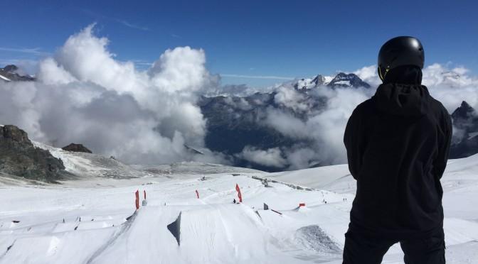 Scottish snowboarder Fin Bremner trains in Saas-Fee, Switzerland over the summer. (photo: Snowsport Scotland)