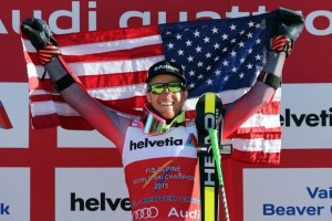 Ted Ligety atop the podium at the 2015 FIS Alpine World Ski Championships in Vail/Beaver Creek, Colo. (photo: USST/Getty Images)