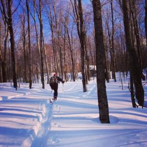 Stoweflake's Scot Baraw skins uphill through the Vermont hardwoods. (photo: Stoweflake Mountain Resort & Spa)