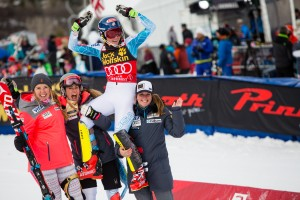 Mikaela Shiffrin''s U.S. Ski Team teammates hoist her on their shoulders after winning a second slalom at the Nature Valley Aspen WInterational in Colorado on Sunday. (photo: Jeremy Swanson)