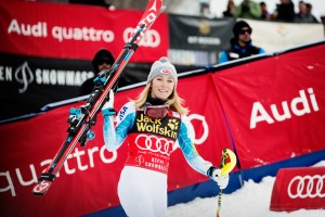 Mikaela Shiffrin, of Eagle, Colo., celebrates her second World Cup slalom victory in as many days on Sunday in Aspen. (photo: Sarah Brunson/U.S. Ski Team)