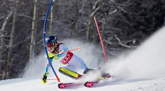 Mikaela Shiffrin, of Eagle, Colo., charges to victory in Saturday's World Cup Slalom at the Aspen Winternational in Aspen, Colo. (photo: Sarah Brunson/U.S. Ski Team)